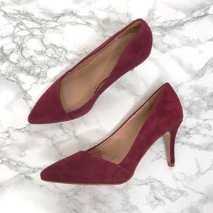 Madewell Mira Suede Midi Heels Burgundy Red Size 6